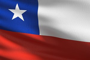Chile national flag blowing in the w