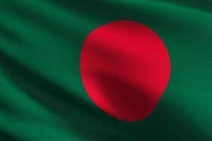 Bangladesh national flag blowing in