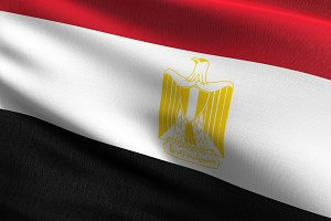 Egypt national flag blowing in the w
