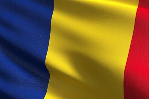 Romania national flag blowing in the