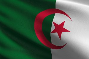 Algeria national flag blowing in the