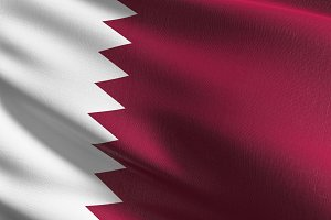 Qatar national flag blowing in the w