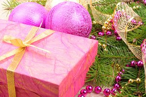 christmas gold and pink with pine br