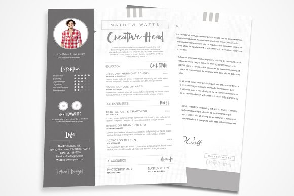sharp clean resume for photoshop resume templates creative market