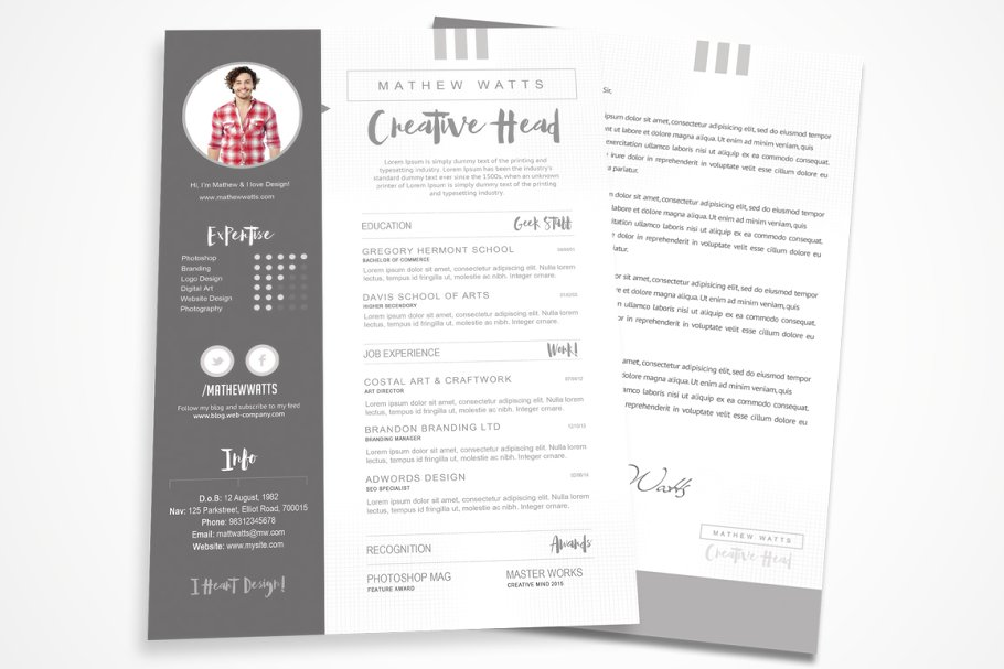 Sharp Clean Resume For Photoshop Templates Creative Market