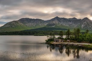 Lough Inagh in Ireland with a cabin