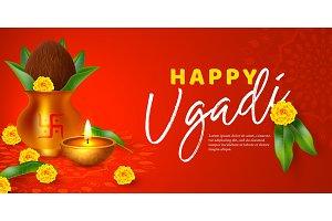 Ugadi holiday poster or babber.