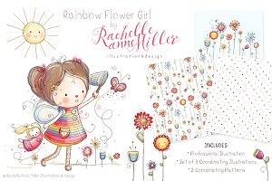 Rainbow Flower Girl