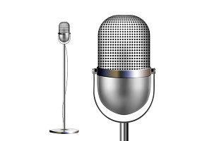 Retro Chrome Microphone With Stand