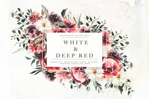 Watercolor White & Deep Red