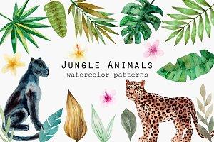 Jungle Animals. Watercolor Patterns