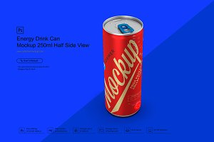 Energy Drink Can Mockup 250ml Half S