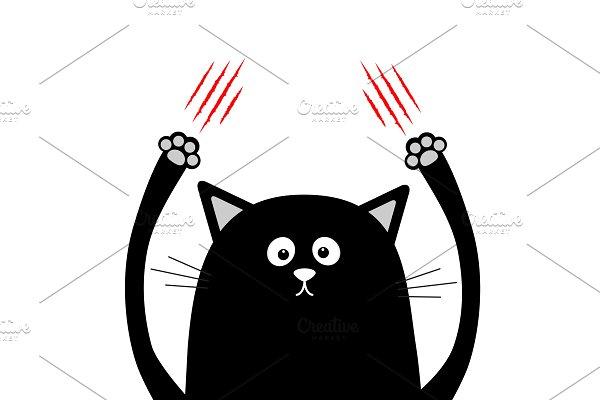 Cartoon black cat claw scratching.