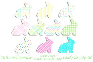 Patterned Bunny Clip Art