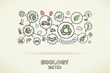 Ecology hand draw integrated icons