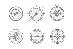6 Compass and Navigation Icons