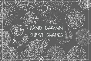 15 Hand Drawn Burst Shapes +11 free
