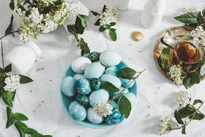 Naturally dyed Easter blue eggs, and