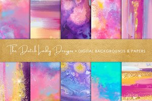 Brush Strokes & Stains Backgrounds