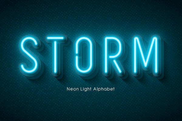 Display Fonts: Revelstockart - 3d Neon light alphabet