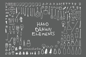 140 Hand Drawn Elements v3 +34 free