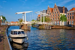 Spaarne river with boat and