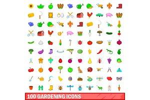 100 gardening icons set, cartoon