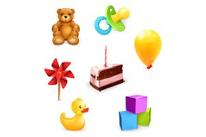 Child's toys and cake with candle
