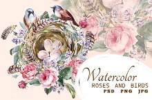 Vintage card with rose and birds
