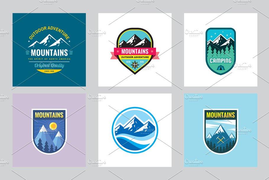 Mountains Camping - Logo Badge Set