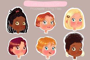Cute Face Sticker Set Procreate Png