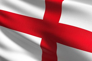 England national flag blowing in the