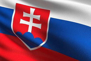 Slovakia national flag blowing in th