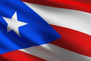 Puerto Rico national flag blowing in