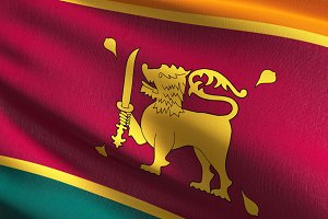 Sri Lanka national flag blowing in t