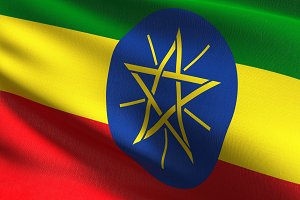 Ethiopia national flag blowing in th