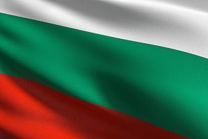 Bulgaria national flag blowing in th