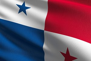 Panama national flag blowing in the