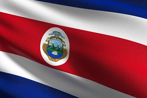 Costa Rica national flag blowing in