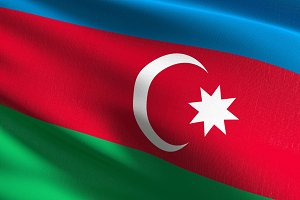 Azerbaijan national flag blowing in