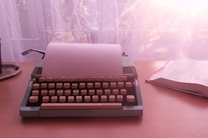Vintage typewriter sunny
