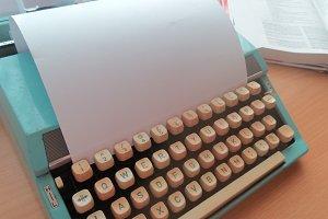 Blue vintage typewriter