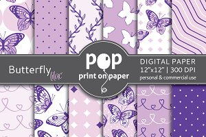 Butterfly Lilac Digital Paper