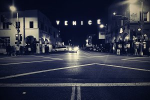 Venice Beach Sign at Night , Venice