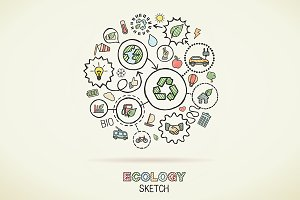 Ecology hand draw sketch icons