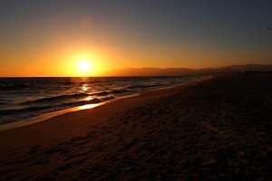 Sunset, Beach, Ocean, Hills