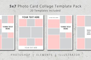 5x7 Photo Card Collage Template Pack