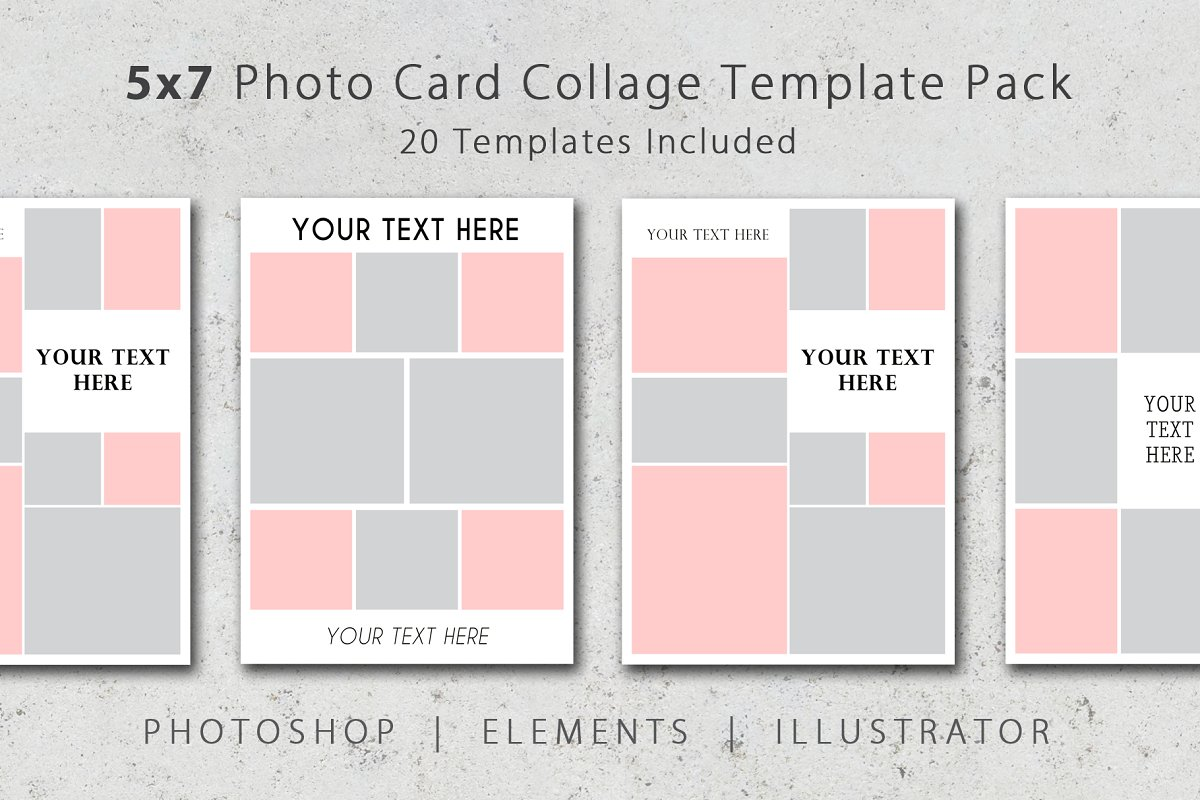 5x7 Photo Card Collage Template Pack Postcard Templates
