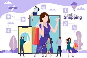 Online shopping vector concept.