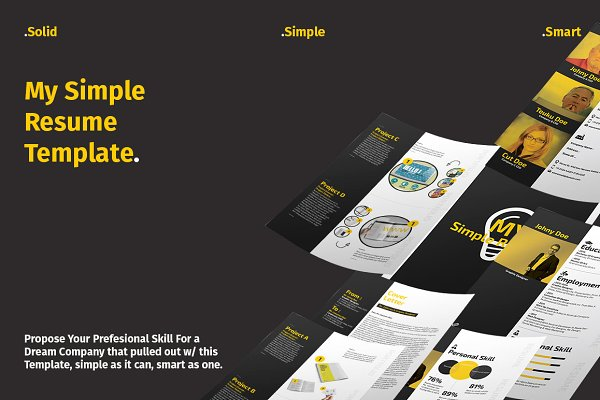 Cover Letter Templates: BizzCreatives - Resume Layout With Yellow Accent